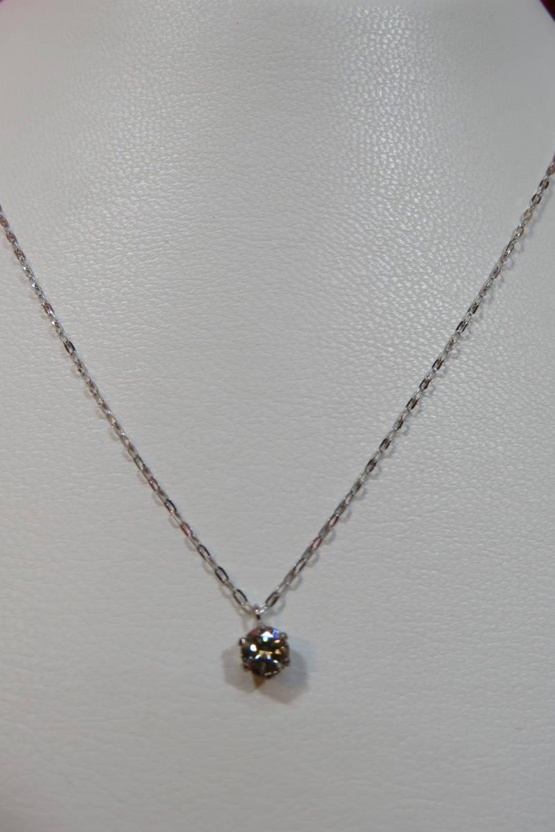 新品 プラチナ台 一粒 ダイヤモンド ペンダント ネックレス_画像4