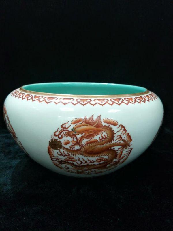 【芸】中国骨董品 唐物 清代古美術 古陶瓷器 大清道光年製 白地紅釉龍紋筆洗 陶磁 古董品