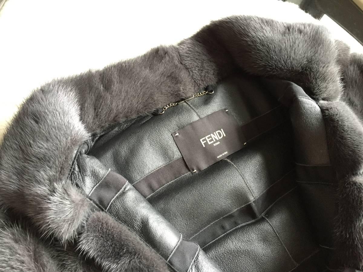 即決 極美品 FENDI フェンディ 最高峰 スタッズ装飾ベルト付 ミンクコート☆40サイズ グレー_画像3