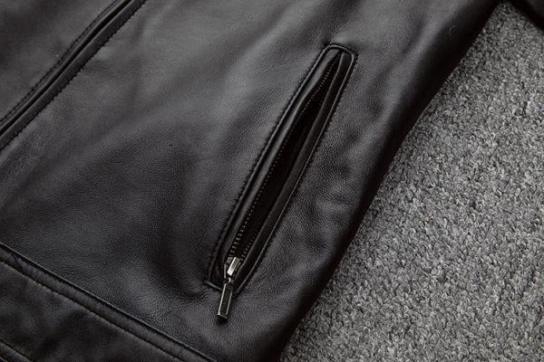 シープスキン スタンダードスタイル シングルライダース レザージャケット ブラック Mサイズ(36) イタリアンレザー ラム 羊革_画像8