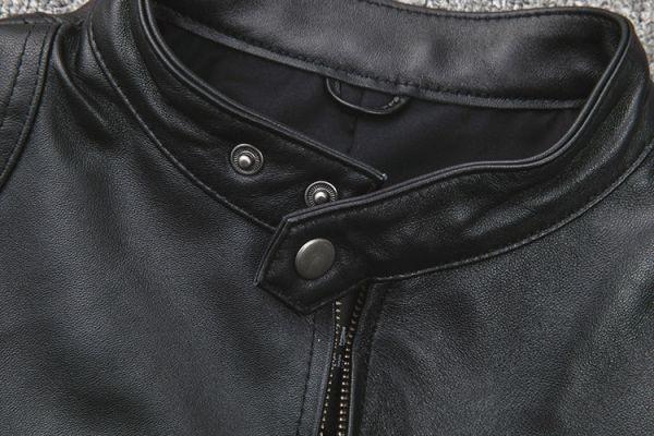 シープスキン スタンダードスタイル シングルライダース レザージャケット ブラック Mサイズ(36) イタリアンレザー ラム 羊革_画像5