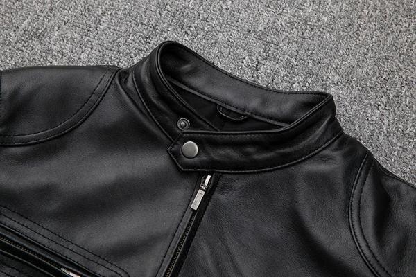 シープスキン スタンダードスタイル シングルライダース レザージャケット ブラック Mサイズ(36) イタリアンレザー ラム 羊革_画像4