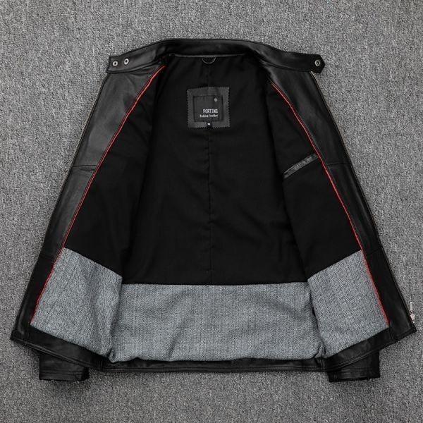 シープスキン スタンダードスタイル シングルライダース レザージャケット ブラック Mサイズ(36) イタリアンレザー ラム 羊革_画像3