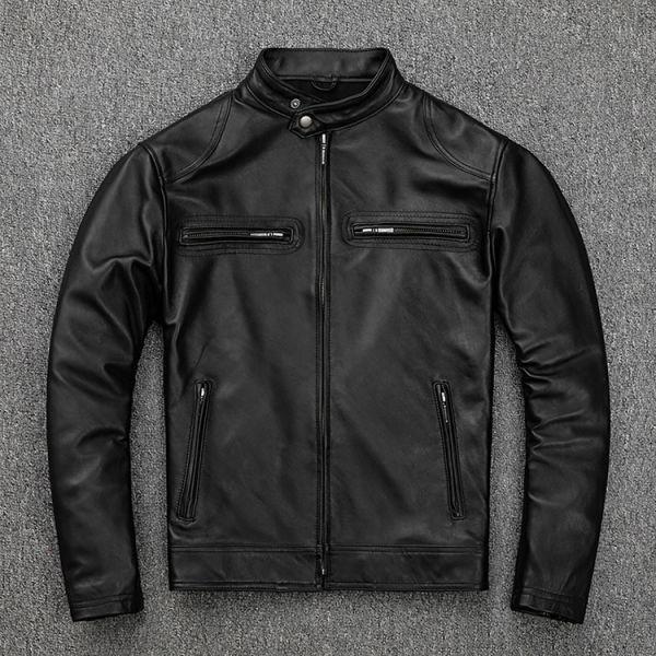 シープスキン スタンダードスタイル シングルライダース レザージャケット ブラック Mサイズ(36) イタリアンレザー ラム 羊革_画像1
