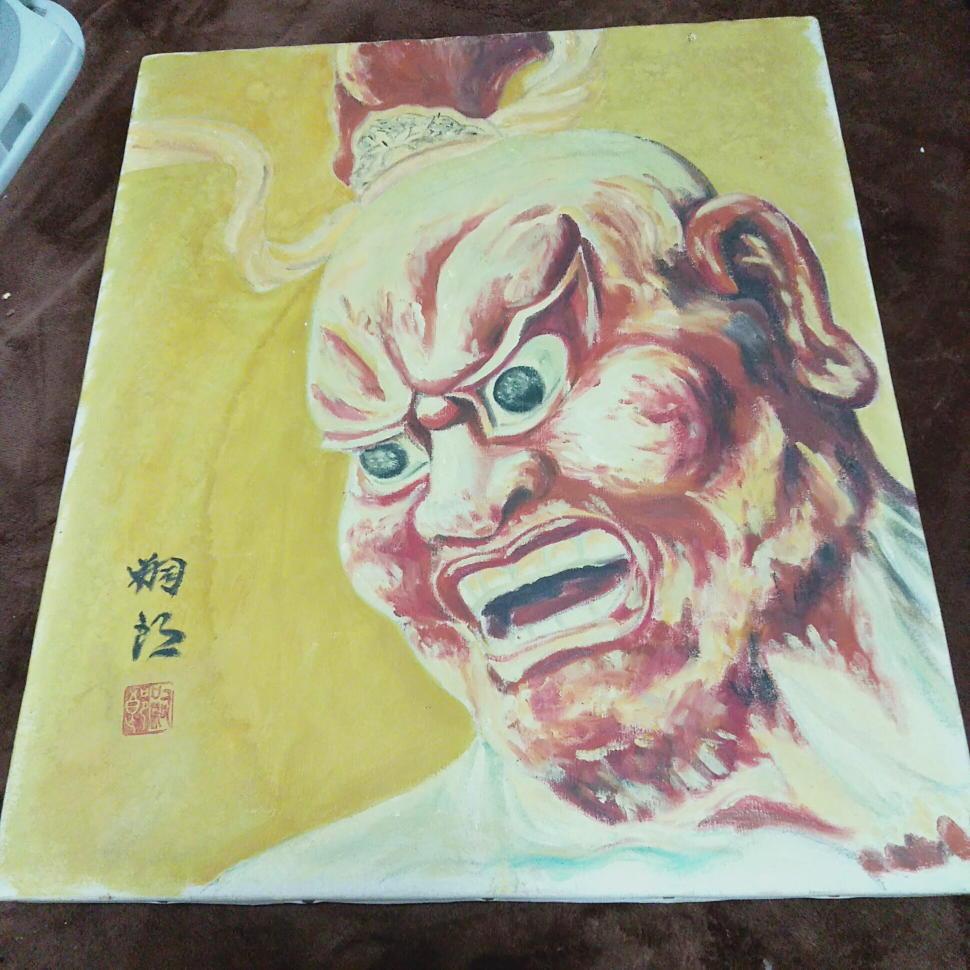 送料無料 仏画 程度普通  約45×53cm 仁王 写仏 仏教 一般の方の絵かと かなり古いもの_画像4