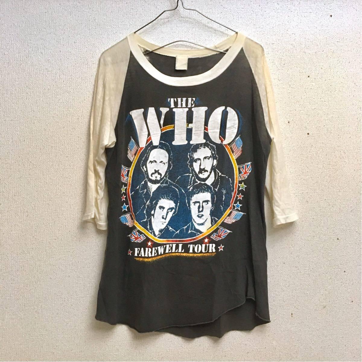 ビンテージ 80s ザフー Farewell US Tour ラグラン Tシャツ パキ綿 ロック バンド vintage the who beatles rolling stones nirvana_画像1