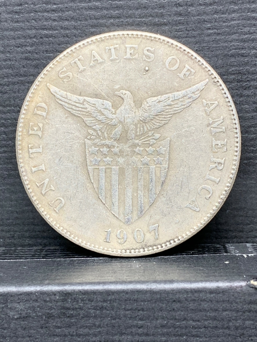 【Ωコイン】米国領 フィリピン ペソ 1907年 アメリカ 検)古銭硬貨貨幣銀貨系 レア記念 メダル 希少骨董 外国 レプリカ復刻 し28_画像2