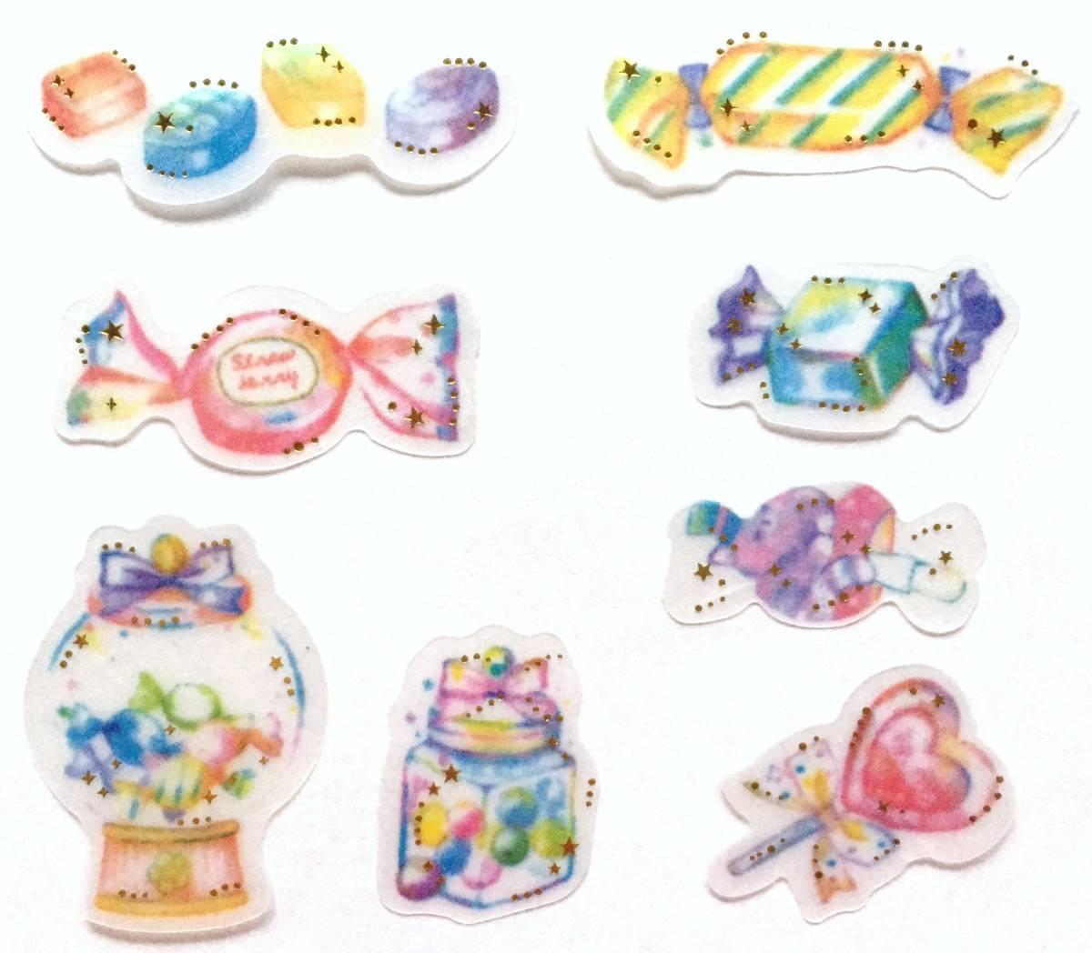新品&即決 かわいい キャンディー フレークシール8種48枚/お菓子 飴 キャンディーボックス ドロップ/スクラップブッキング 手帳手紙 女の子_画像2