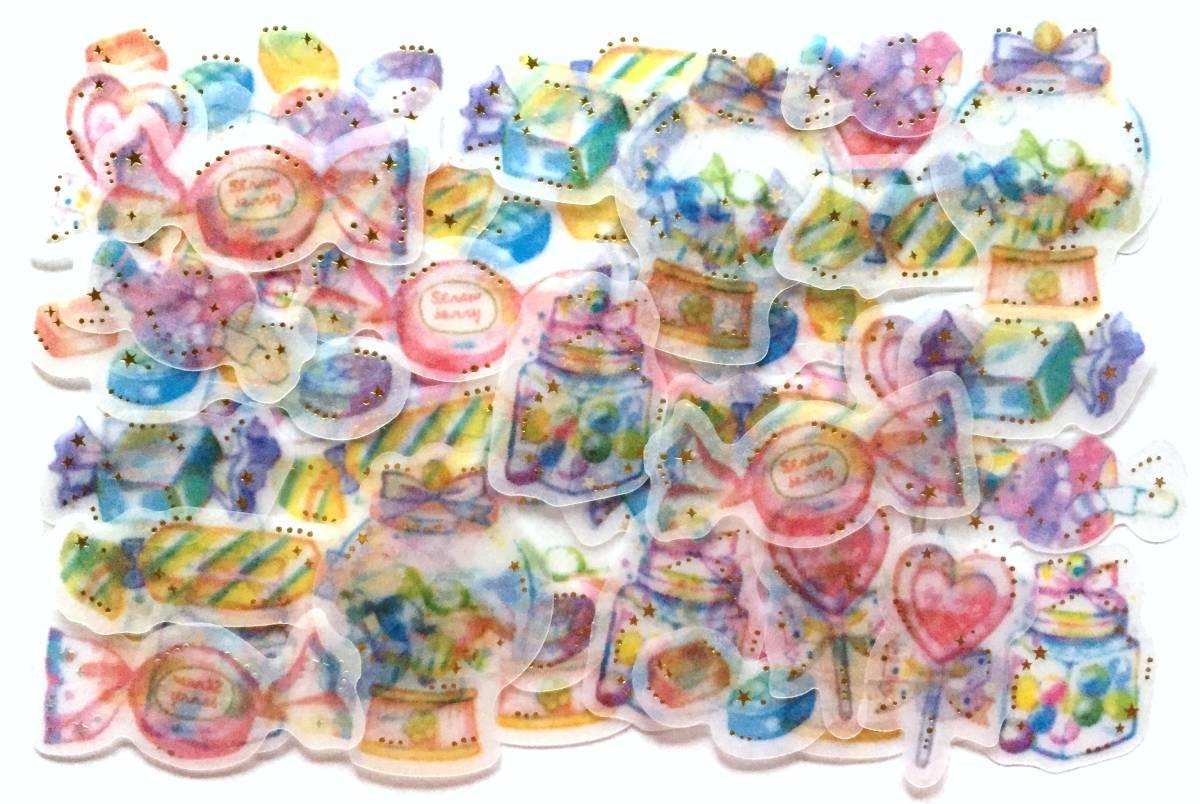 新品&即決 かわいい キャンディー フレークシール8種48枚/お菓子 飴 キャンディーボックス ドロップ/スクラップブッキング 手帳手紙 女の子_画像1