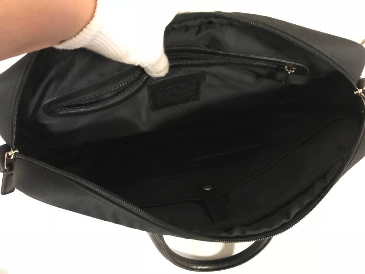 本物コーチCOACH本革レザーナイロンビジネスバッグハンドバックブリーフケース黒ブラックメンズ仕事A4可オールド旅行トラベル