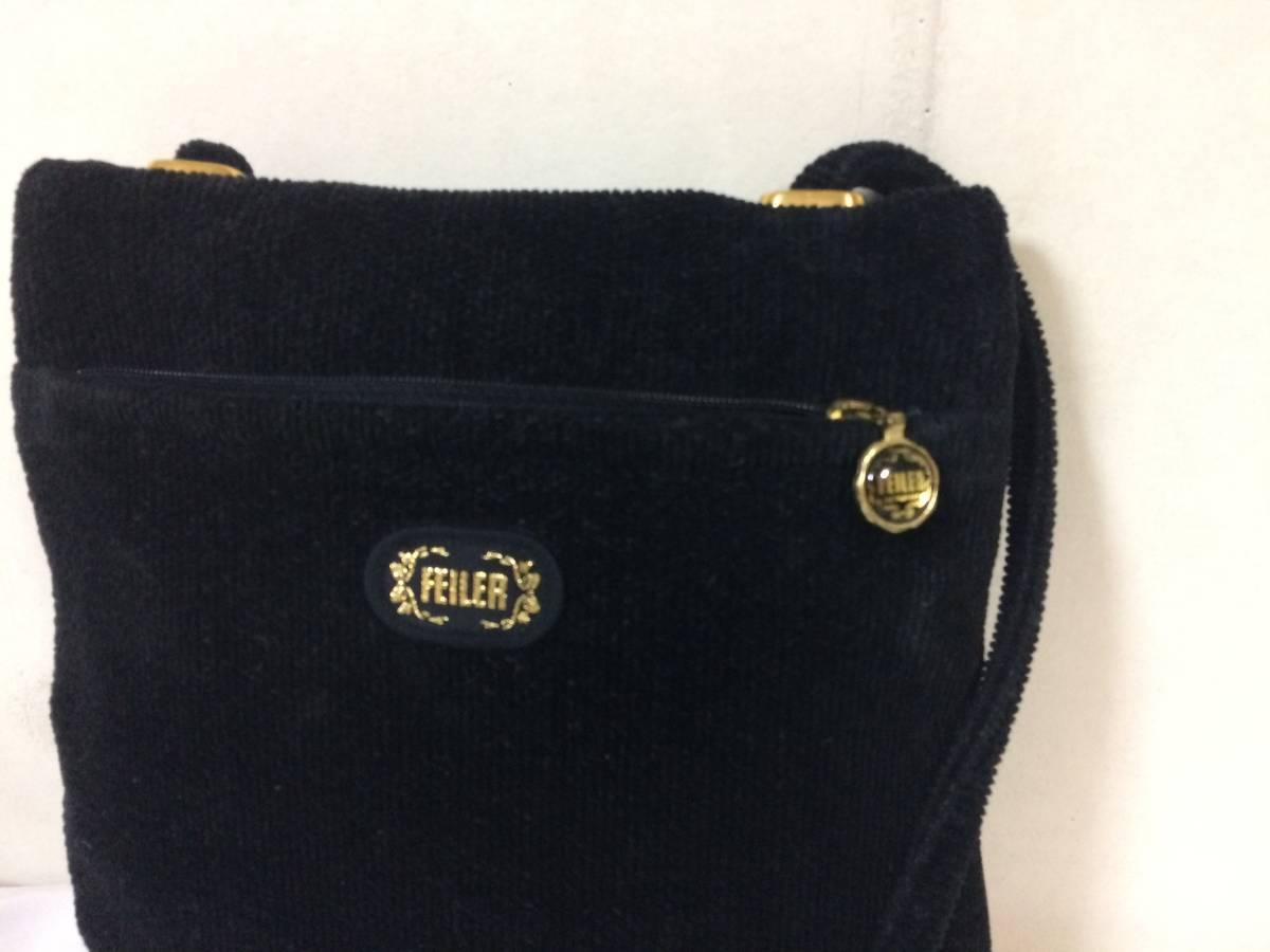 美品本物フェイラーFEILERタオル生地ショルダーバッグ黒ブラック花柄バック旅行トラベルレディース化粧品ポーチ