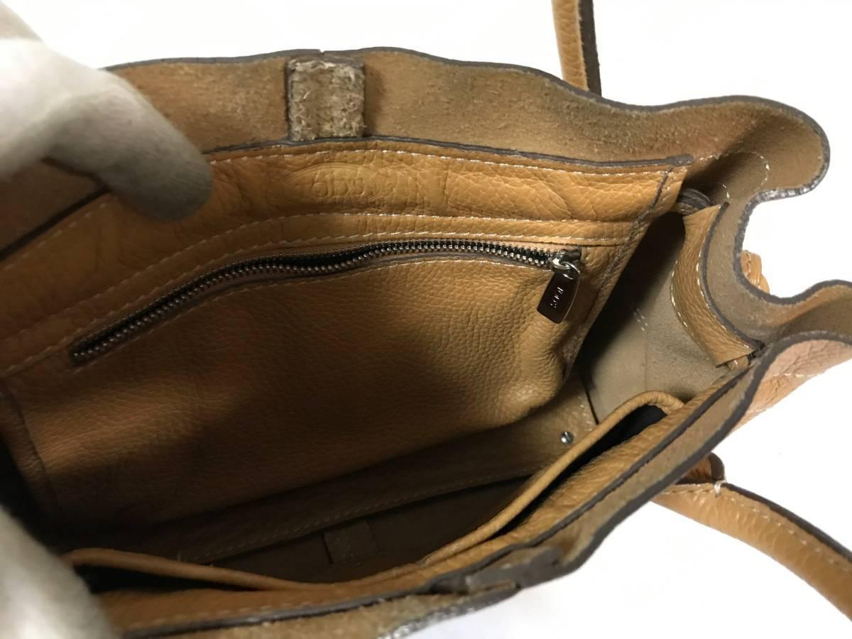 美品本物トッズTODS本革レザーハンドバッグトートバックビジネスベージュ茶キャメル旅行トラベルメンズレディースイタリア製