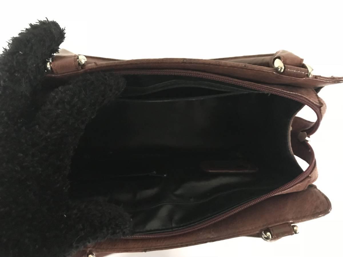 本物EXCELA本革レザーオーストリッチトートビジネスハンドバッグミニボストンバックメンズレディース旅行トラベル茶ブラウン
