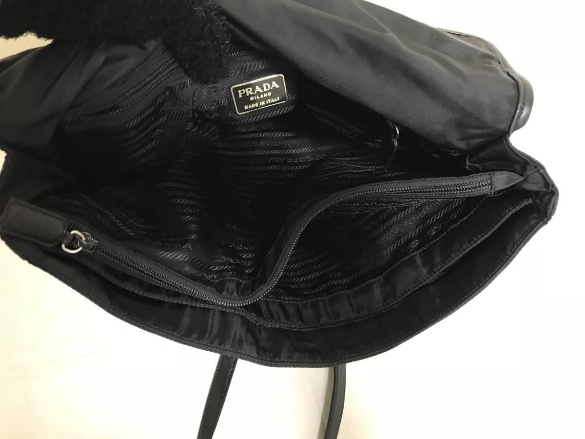 本物プラダPRADA本革レザーナイロントートボストンハンドバッグビジネスバック黒ブラック旅行トラベルメンズレディース