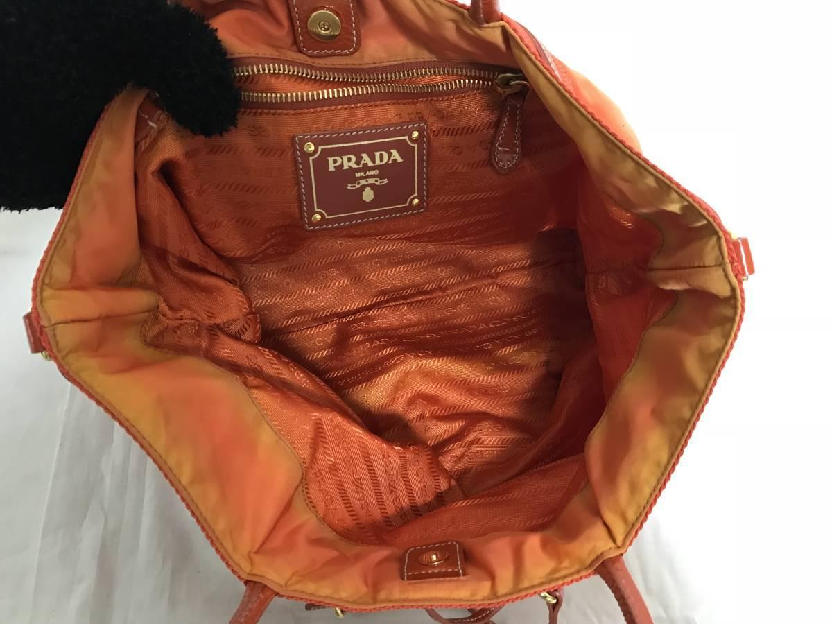美品本物プラダPRADA本革レザーナイロンミニボストンハンドバッグビジネストートパーティーバックオレンジ旅行トラベルメンズレディース