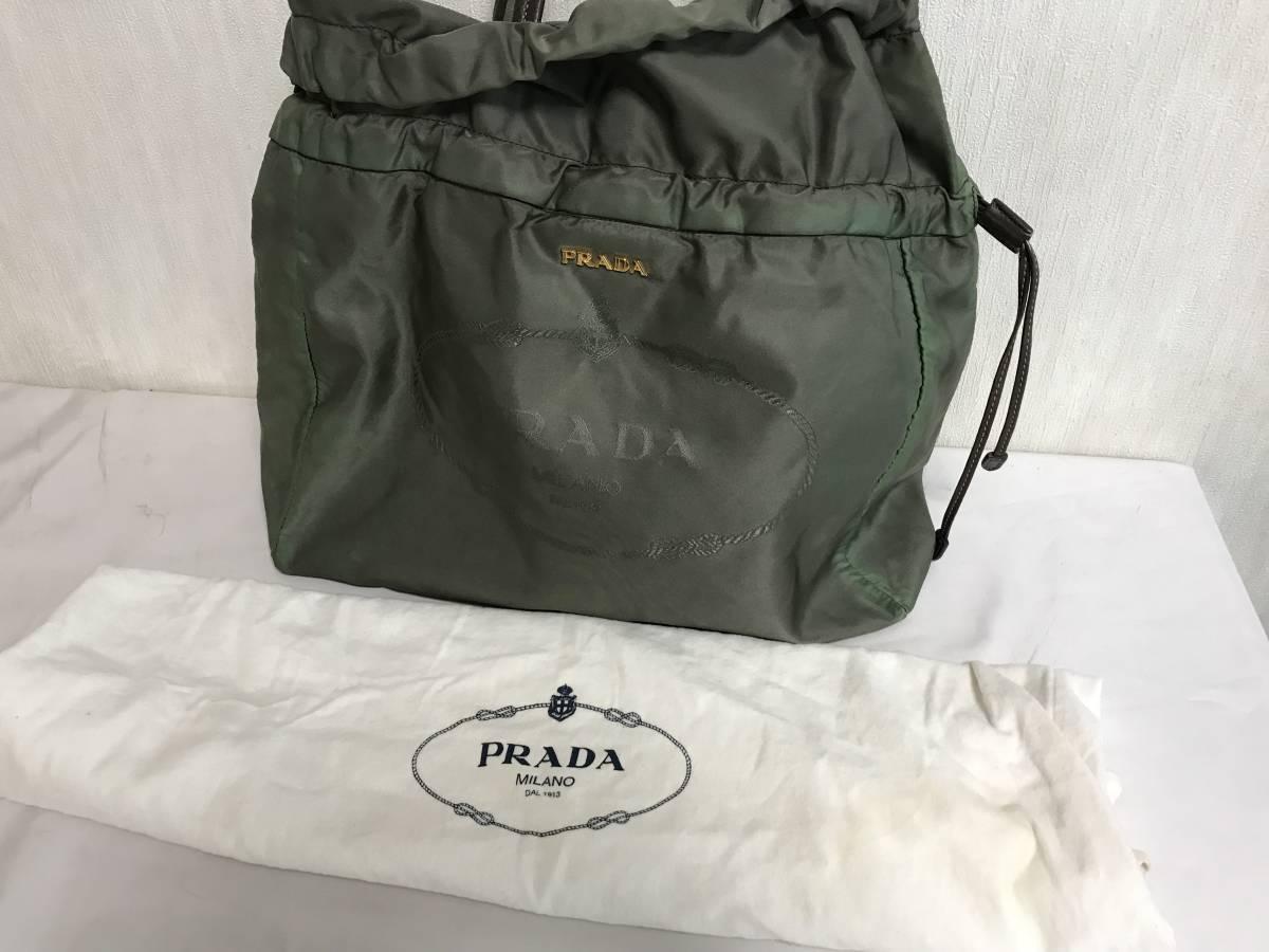 美品本物プラダPRADA本革レザーナイロンデカビッグトートバッグボストントートハンドバックビジネスカーキ旅行トラベルレディース巾着