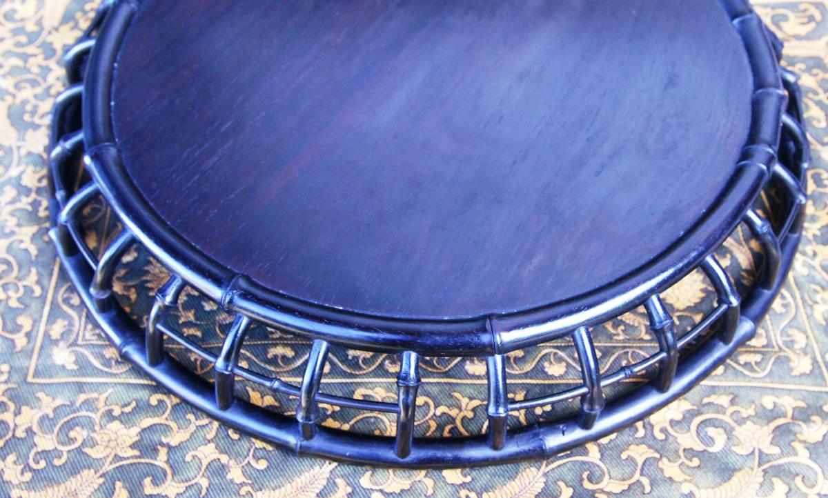 技巧超名品 時代物 唐木造 竹盆 木彫 紫檀 花梨 香盆 煎茶盆 古玩 抹茶・煎茶道具 古美術品 _現物に近く、次第に節の間隔を広げています
