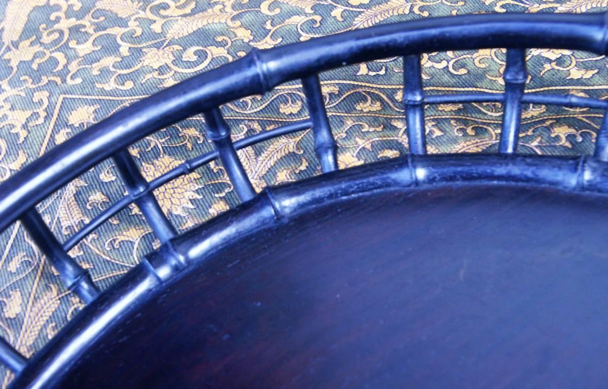 技巧超名品 時代物 唐木造 竹盆 木彫 紫檀 花梨 香盆 煎茶盆 古玩 抹茶・煎茶道具 古美術品 _竹の継ぎ目まで表現。にくいねー・・・
