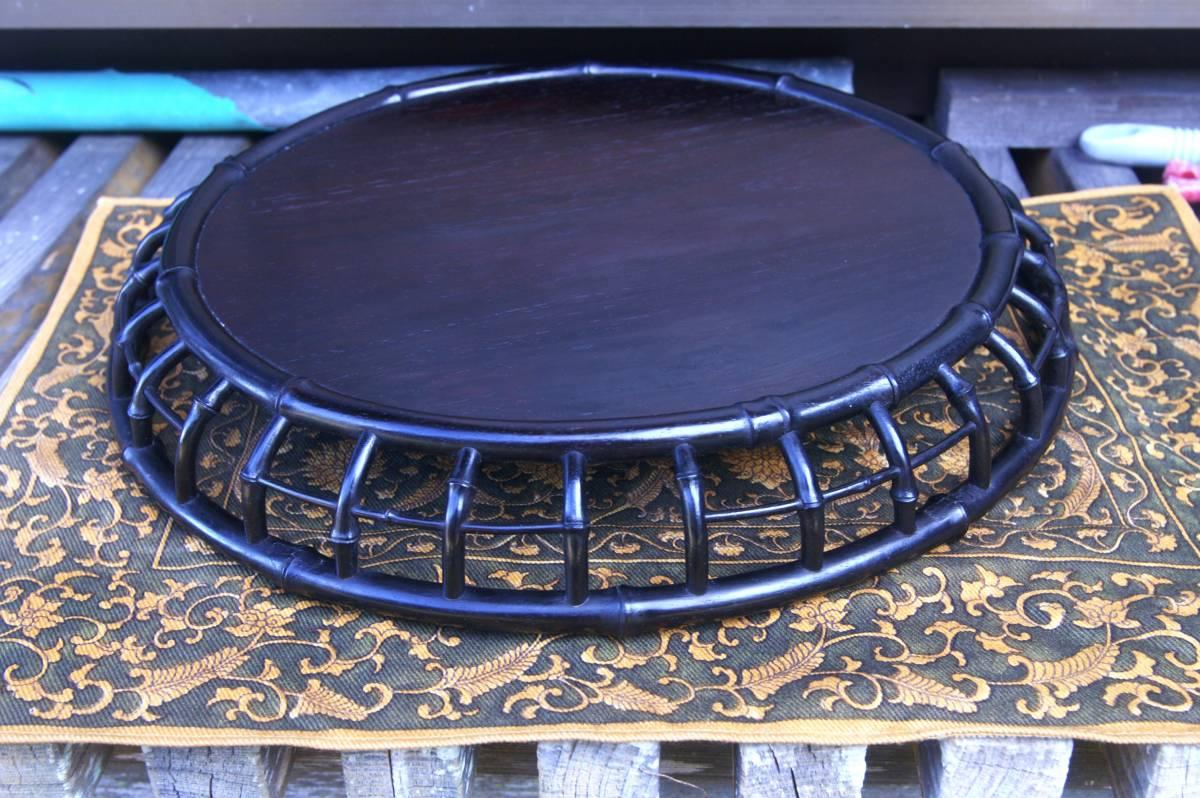 技巧超名品 時代物 唐木造 竹盆 木彫 紫檀 花梨 香盆 煎茶盆 古玩 抹茶・煎茶道具 古美術品 _花台と使用も可能です。・・・