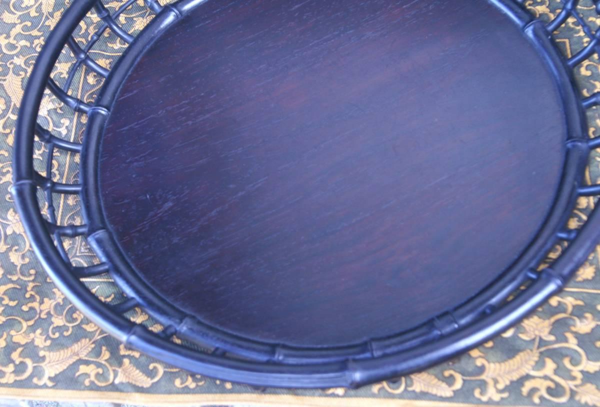 技巧超名品 時代物 唐木造 竹盆 木彫 紫檀 花梨 香盆 煎茶盆 古玩 抹茶・煎茶道具 古美術品 _竹の彫刻、節の間隔を次第に広げています。