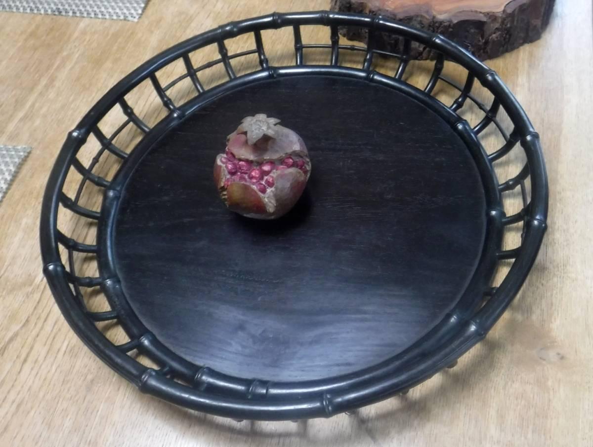 技巧超名品 時代物 唐木造 竹盆 木彫 紫檀 花梨 香盆 煎茶盆 古玩 抹茶・煎茶道具 古美術品 _出品物は、紫檀の盆だけです。