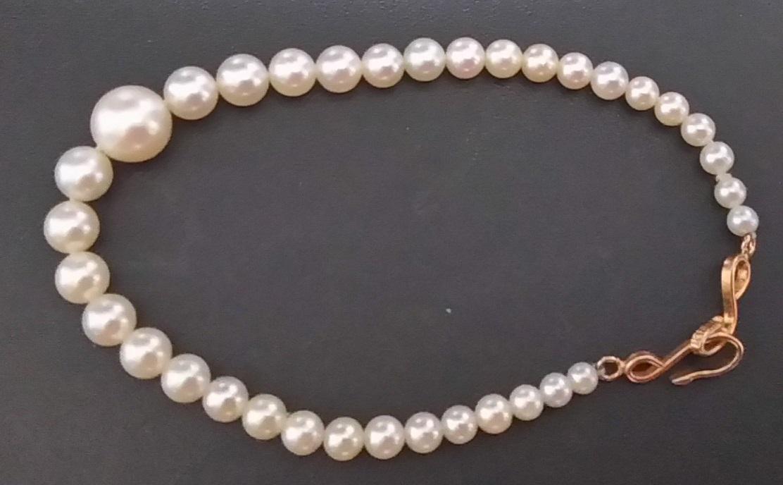 真珠 長さ約17cm丸珠 K18金具 帯留 簪 かんざし 髪留め_画像1