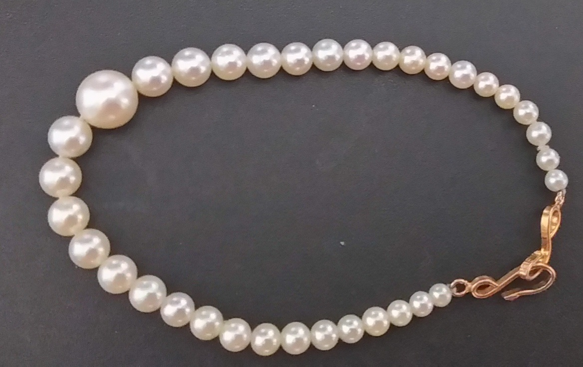 真珠 長さ約17cm丸珠 K18金具 帯留 簪 かんざし 髪留め_画像4