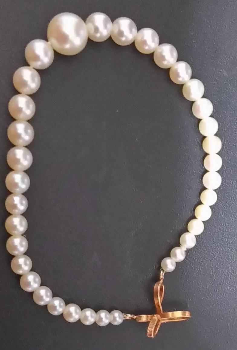 真珠 長さ約17cm丸珠 K18金具 帯留 簪 かんざし 髪留め_画像2