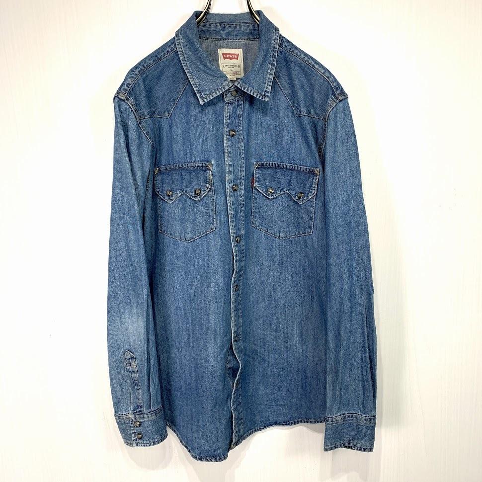 古着 リーバイス ウエスタン デニムシャツ Lサイズ インディゴ ブルー 長袖 Levi's ジージャン Gジャン ジーンズ_画像1