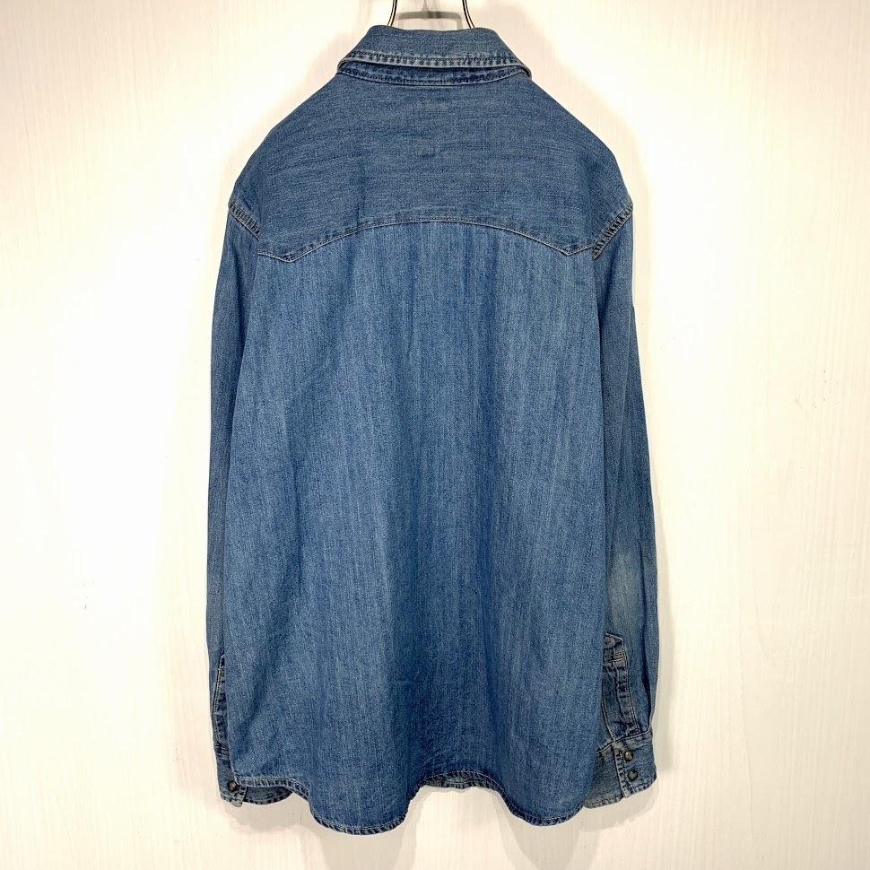 古着 リーバイス ウエスタン デニムシャツ Lサイズ インディゴ ブルー 長袖 Levi's ジージャン Gジャン ジーンズ_画像4