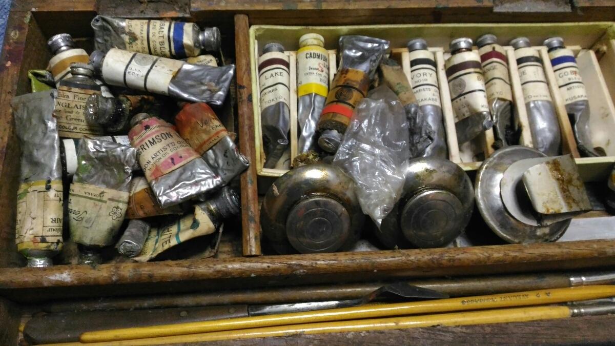 古い絵画用品 現状 インテリア レトロ 木箱 在庫処分 お得 売り切り○119_画像1