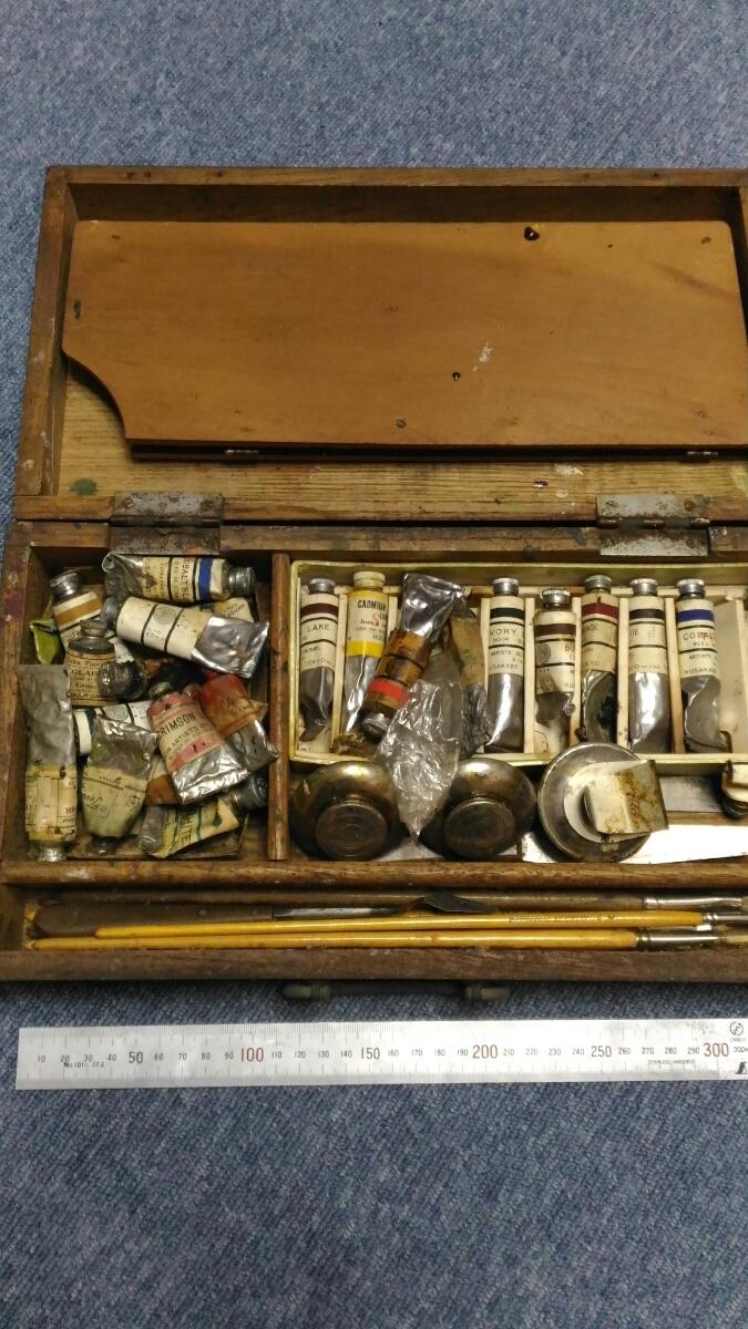 古い絵画用品 現状 インテリア レトロ 木箱 在庫処分 お得 売り切り○119_画像2