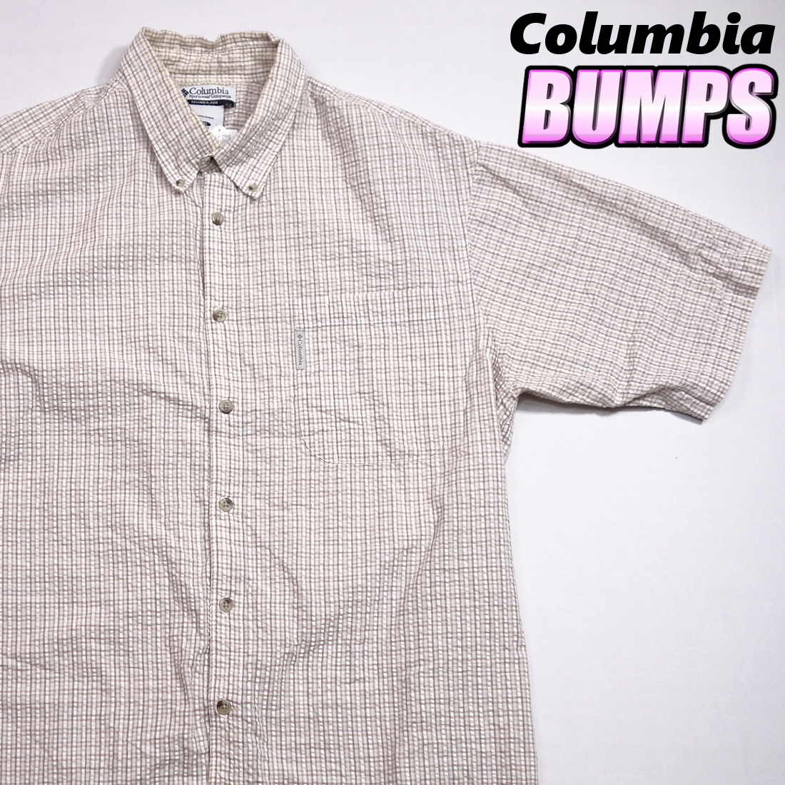 コロンビア Columbia チェックシャツ 半袖 メンズ XL 大きいサイズ ボタンダウン シワ加工 Yシャツ アメリカ USA直輸入 古着 MNO-3-6-0003_画像1