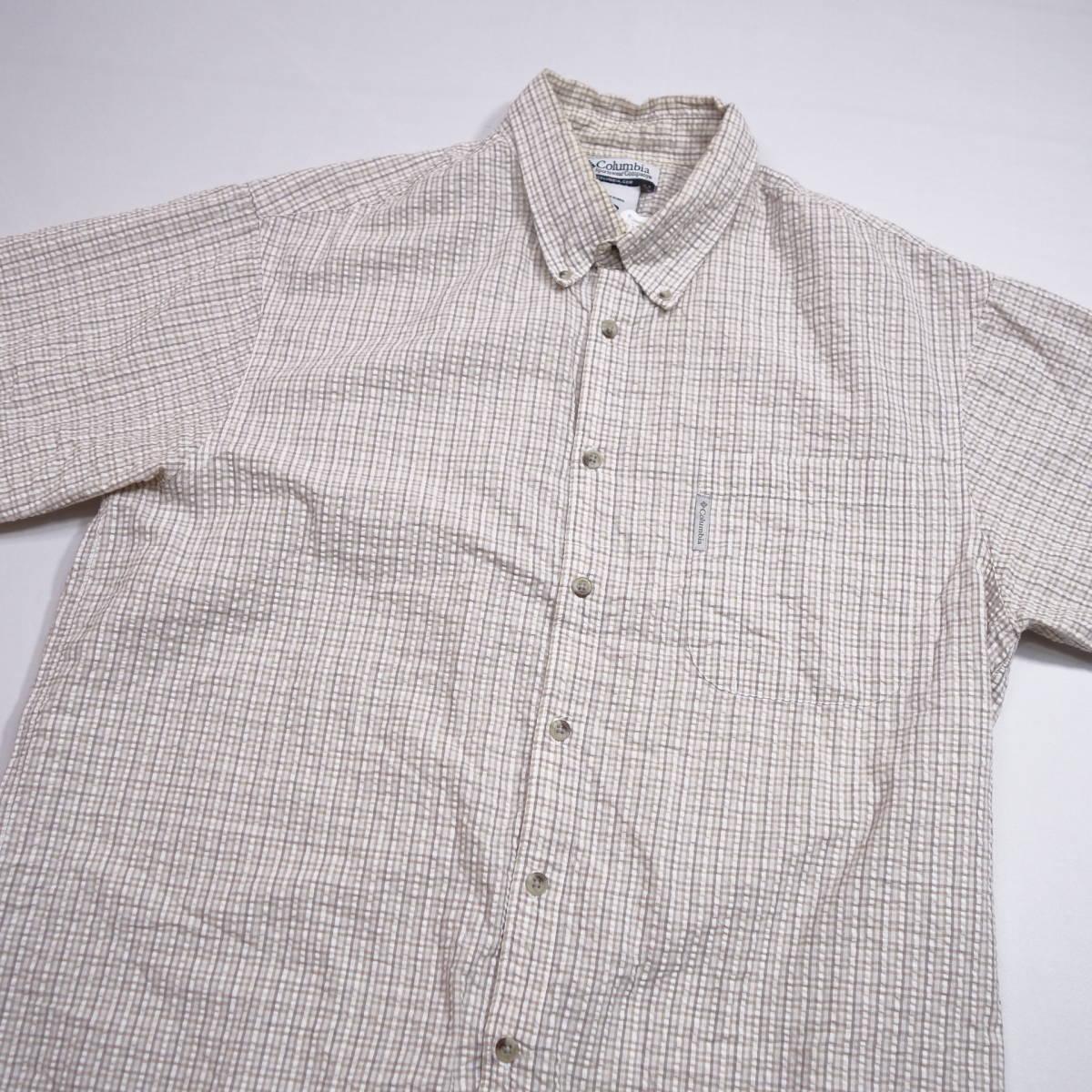 コロンビア Columbia チェックシャツ 半袖 メンズ XL 大きいサイズ ボタンダウン シワ加工 Yシャツ アメリカ USA直輸入 古着 MNO-3-6-0003_画像3