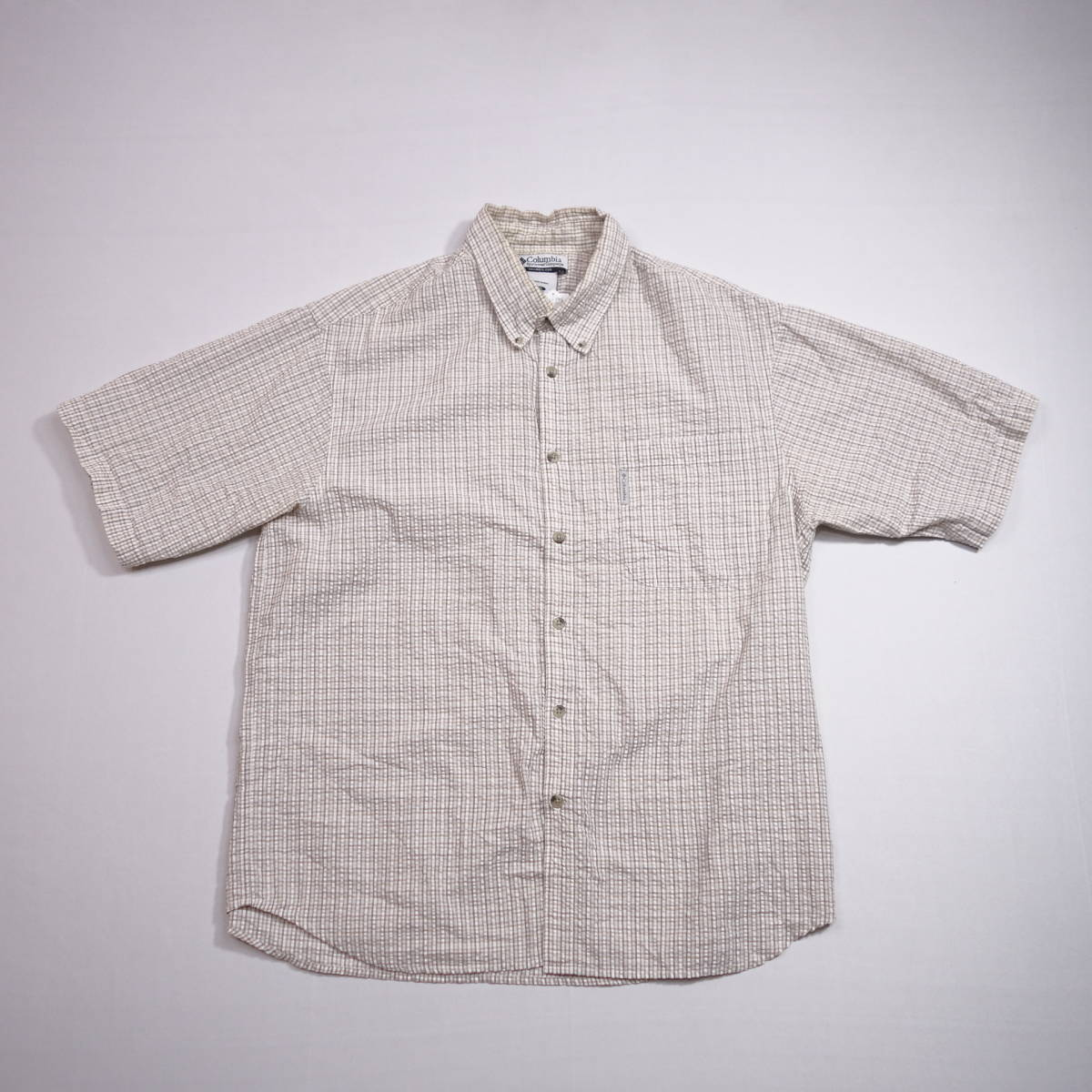 コロンビア Columbia チェックシャツ 半袖 メンズ XL 大きいサイズ ボタンダウン シワ加工 Yシャツ アメリカ USA直輸入 古着 MNO-3-6-0003_画像2