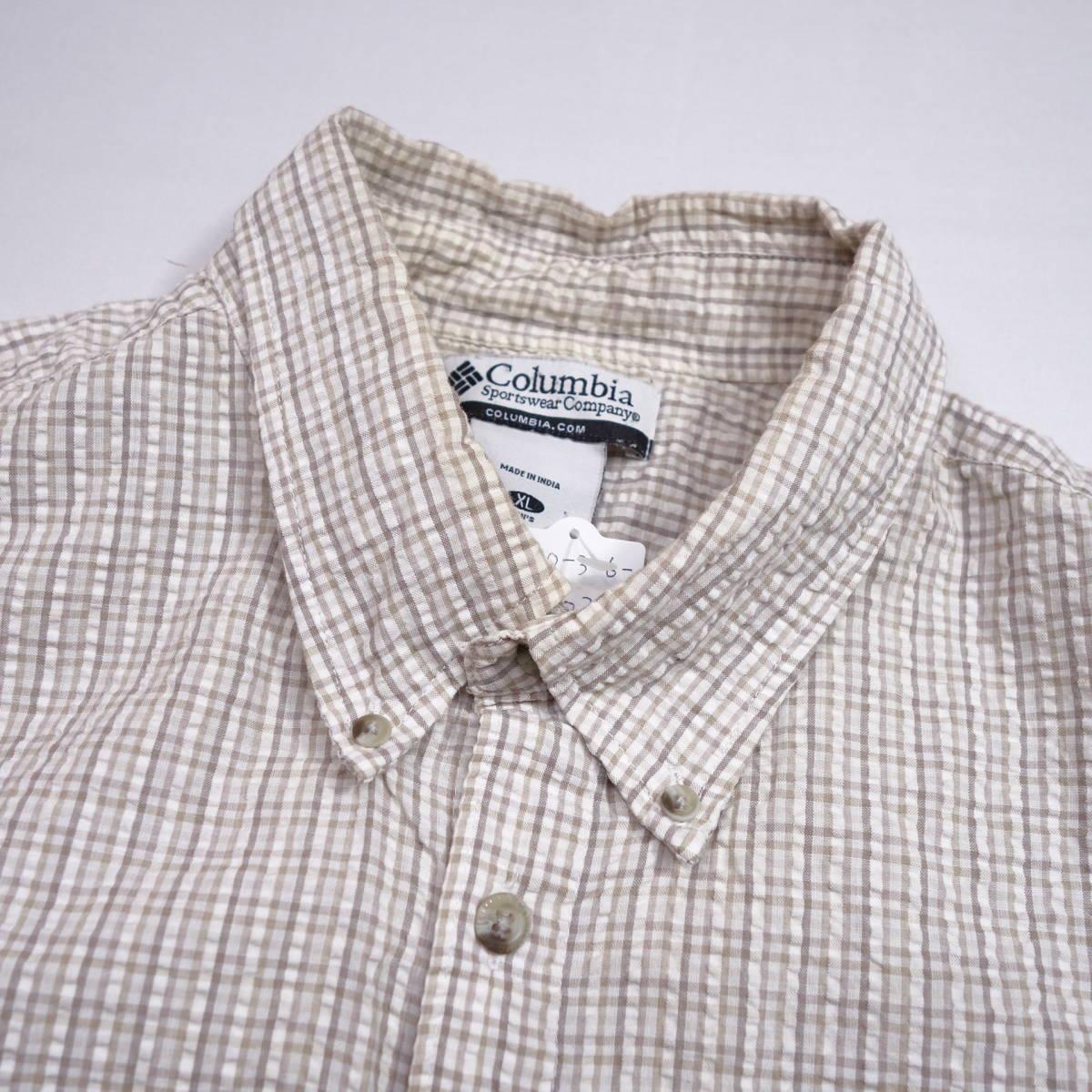 コロンビア Columbia チェックシャツ 半袖 メンズ XL 大きいサイズ ボタンダウン シワ加工 Yシャツ アメリカ USA直輸入 古着 MNO-3-6-0003_画像4