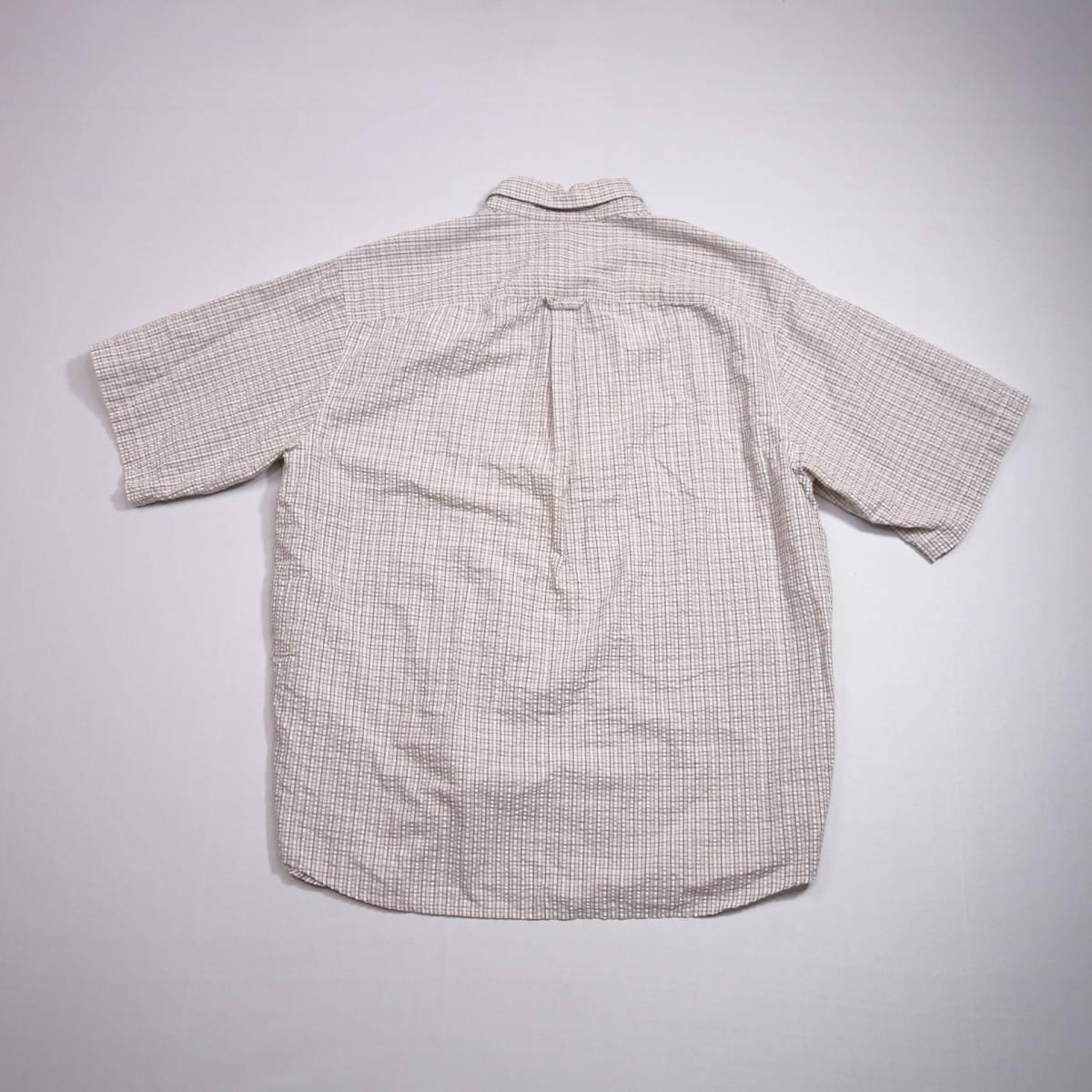 コロンビア Columbia チェックシャツ 半袖 メンズ XL 大きいサイズ ボタンダウン シワ加工 Yシャツ アメリカ USA直輸入 古着 MNO-3-6-0003_画像8