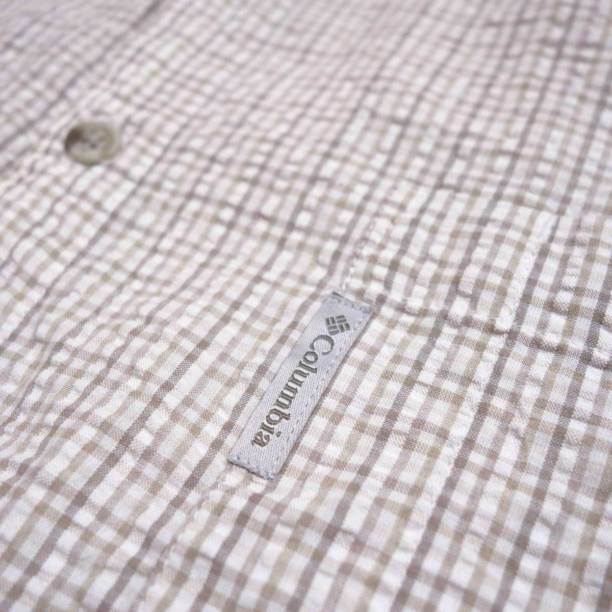 コロンビア Columbia チェックシャツ 半袖 メンズ XL 大きいサイズ ボタンダウン シワ加工 Yシャツ アメリカ USA直輸入 古着 MNO-3-6-0003_画像6