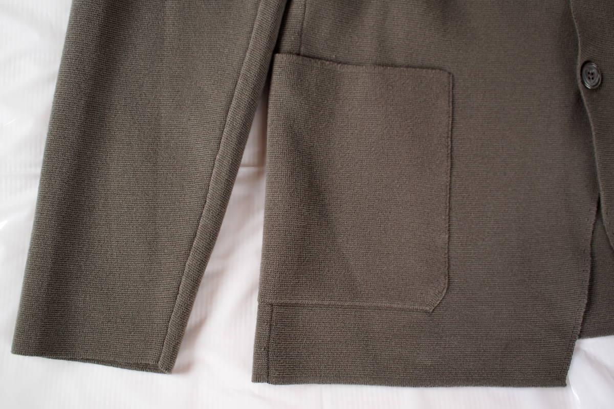 新品タグ付 イタリア製 高級 クルチアーニ CRUCIANI カーキグレー系 2B コットン混 ミラノリブ ニットジャケット 50(L~XL) オフィス向け_画像4