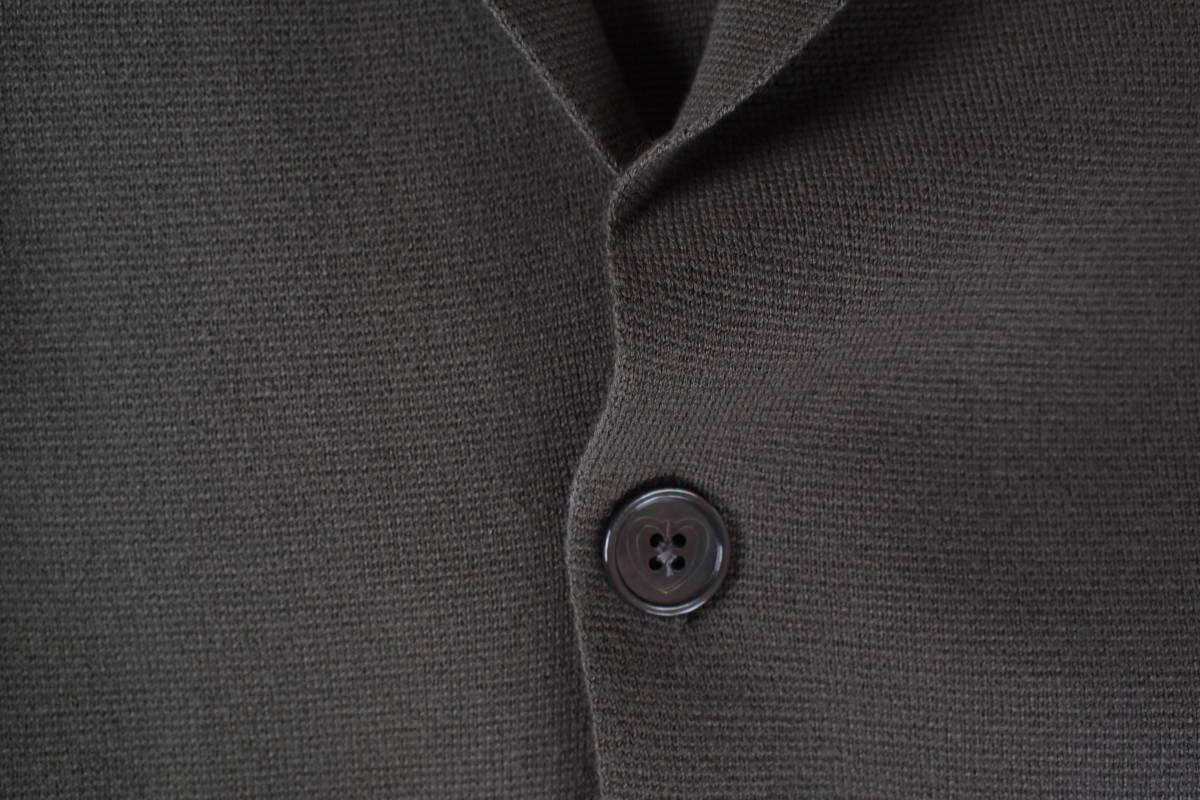 新品タグ付 イタリア製 高級 クルチアーニ CRUCIANI カーキグレー系 2B コットン混 ミラノリブ ニットジャケット 50(L~XL) オフィス向け_画像5
