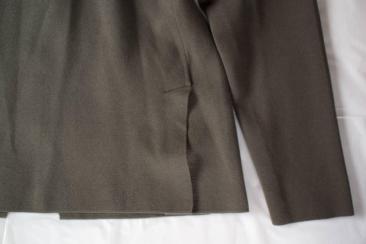 新品タグ付 イタリア製 高級 クルチアーニ CRUCIANI カーキグレー系 2B コットン混 ミラノリブ ニットジャケット 50(L~XL) オフィス向け_画像10