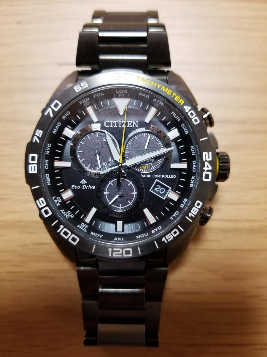 シチズン・プロマスター腕時計 CB5037-84E 新型モデルエコドライブ電波メンズDLC仕様/保証残(2020年末まで)/中古美品_画像4