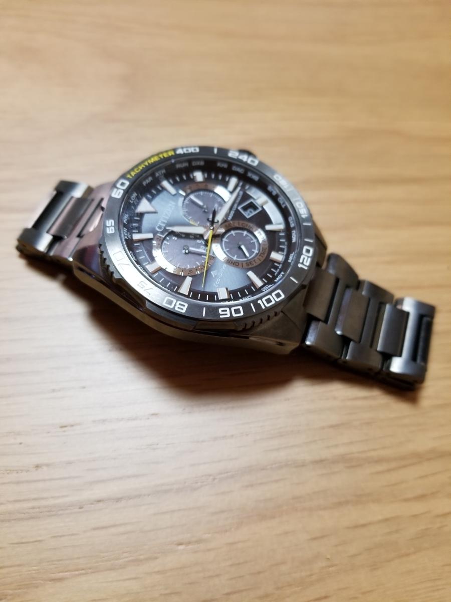 シチズン・プロマスター腕時計 CB5037-84E 新型モデルエコドライブ電波メンズDLC仕様/保証残(2020年末まで)/中古美品_画像6