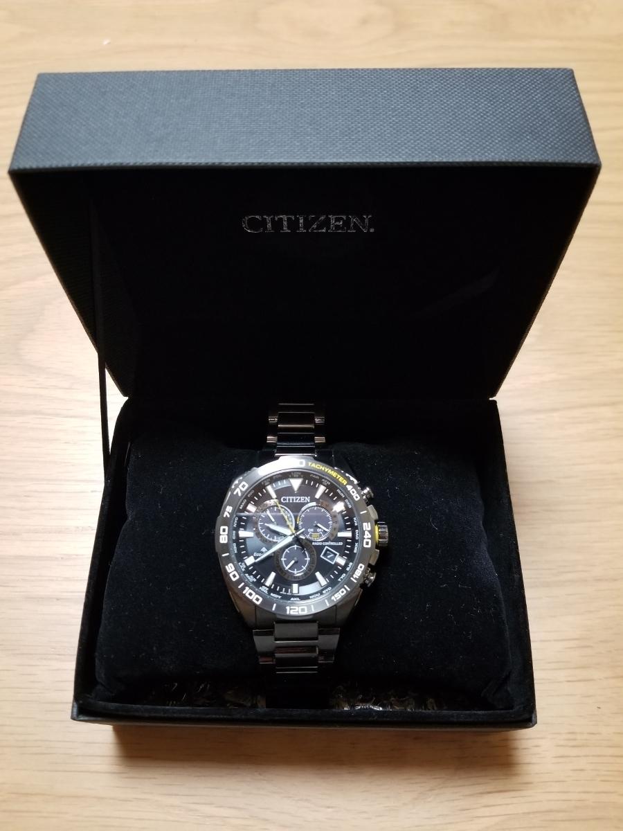 シチズン・プロマスター腕時計 CB5037-84E 新型モデルエコドライブ電波メンズDLC仕様/保証残(2020年末まで)/中古美品