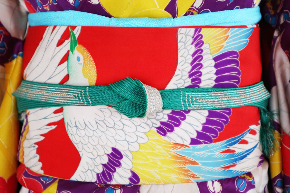 ★☆★アンティーク大正ロマン 自由にはばたくカラフルな羽の鳥 仕立て直し名古屋帯★☆★_画像2