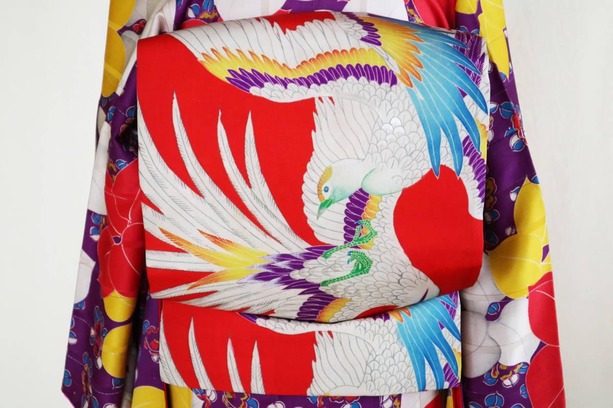 ★☆★アンティーク大正ロマン 自由にはばたくカラフルな羽の鳥 仕立て直し名古屋帯★☆★_画像1