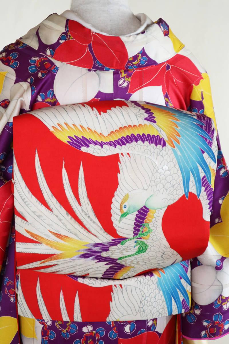 ★☆★アンティーク大正ロマン 自由にはばたくカラフルな羽の鳥 仕立て直し名古屋帯★☆★_画像3