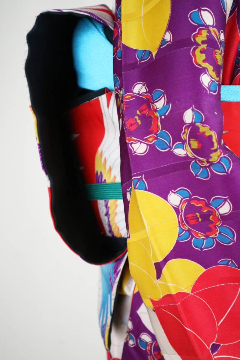 ★☆★アンティーク大正ロマン 自由にはばたくカラフルな羽の鳥 仕立て直し名古屋帯★☆★_画像4