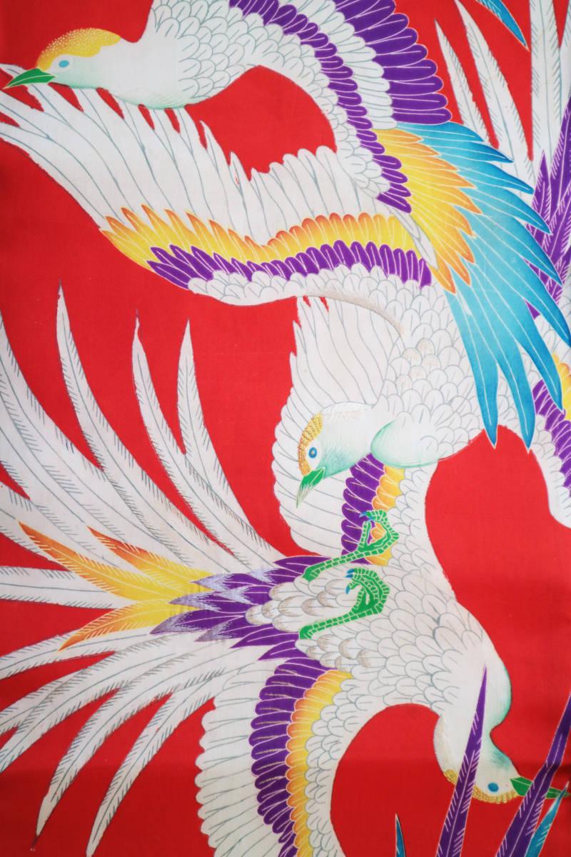 ★☆★アンティーク大正ロマン 自由にはばたくカラフルな羽の鳥 仕立て直し名古屋帯★☆★_画像6