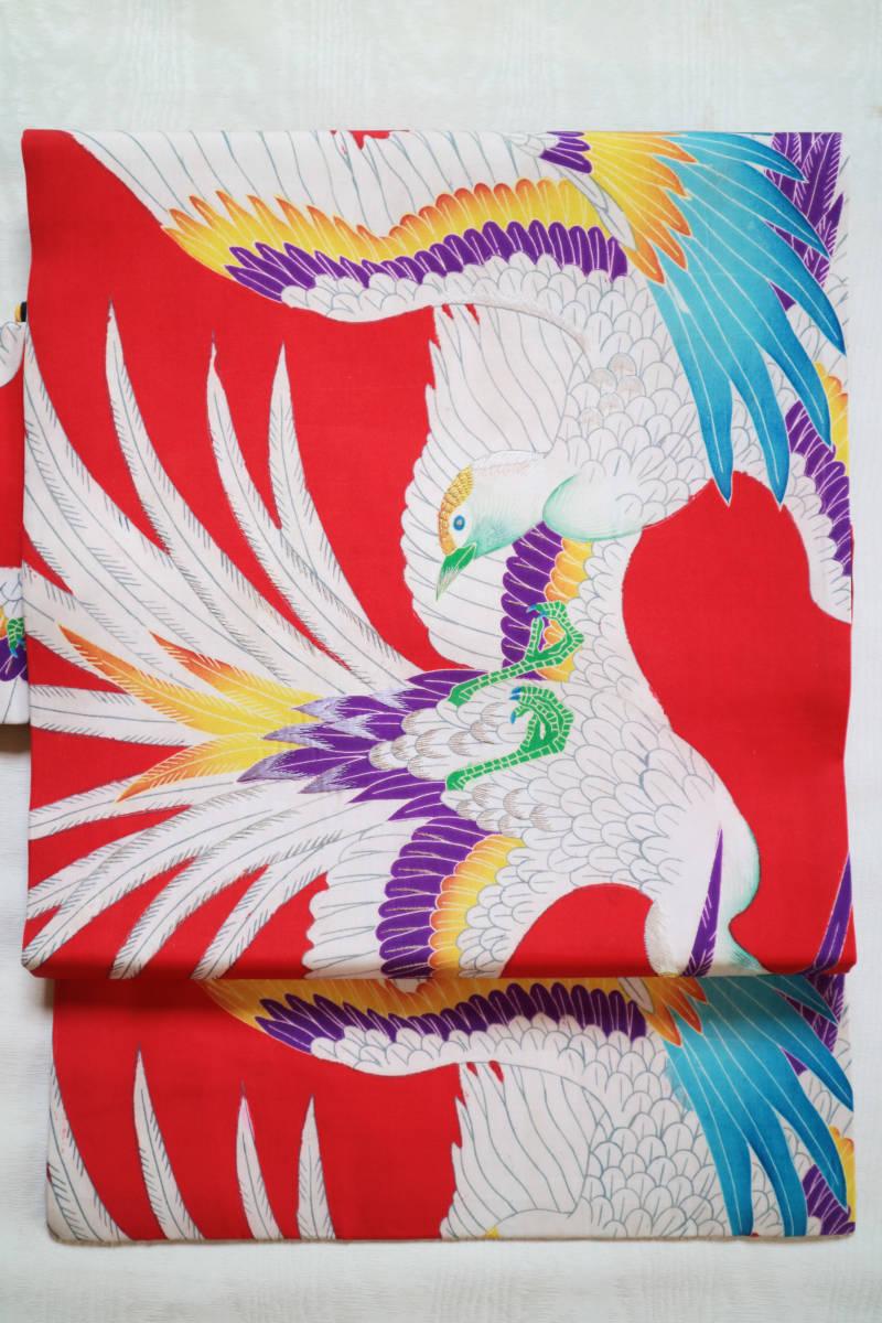 ★☆★アンティーク大正ロマン 自由にはばたくカラフルな羽の鳥 仕立て直し名古屋帯★☆★_画像7